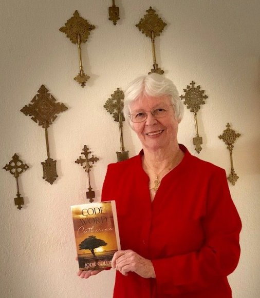 "Jodie Collins with the newly republished ""Code Word: Catherine"""